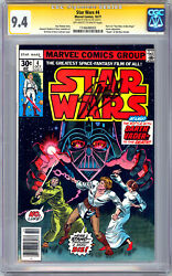 Star Wars 4 Cgc-ss 9.4 Signed By Stan Lee Pt 4 A New Hope Film Adaptn 1977