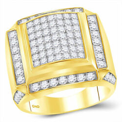 10kt Yellow Gold Mens Princess Diamond Square Cluster Ring 2-7/8 Cttw