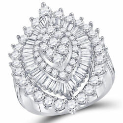 14kt White Gold Womens Round Diamond Marquise-shape Cluster Ring 3 Cttw