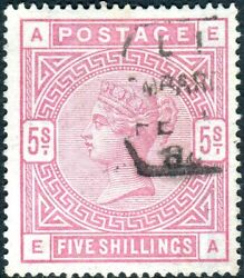 Sg 176 5/- Rose Blued Paper. A Fine Used Example With Clear Profile