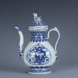 9.4 Chinese Old Antique Porcelain Qing Dynasty Blue White Dragon Cloud Teapot