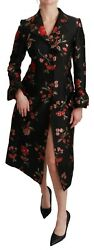 Dolce And Gabbana Jacket Coat Black Floral Embroidered It44 / Us10 / L Rrp 3600