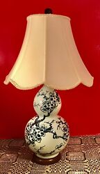 Double Gourd Ceramic Table Lamp Hand Painted Cherry Blossoms Blue And White 26.5andrdquo