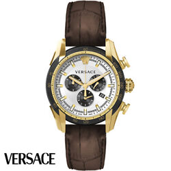 Versace Vedb00619 V-ray Chronograph Rose Gold Brown Leather Men's Watch New