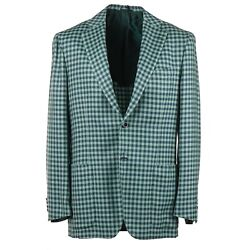 Kiton Green And Blue Check Mid-weight Cashmere Sport Coat 40r Eu 50 Nwt