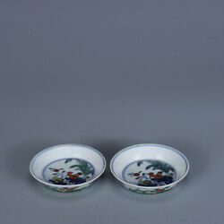 3.1 Old Antique Porcelain Qing Dynasty A Pair Famille Rose Chicken Flower Bowl