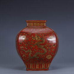 9.8 Old Antique Porcelain Ming Dynasty Wanli Red Yellow Glaze Dragon Lotus Vase