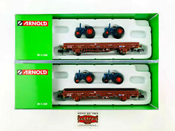 Arnold N Hn6488 - Set 2 Renfe Platform Wagons With Tractother Load - New