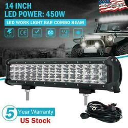 14inch Tri-row 450w Led Work Light Bar Driving Lamp+wiring Kit Offroad 15 16