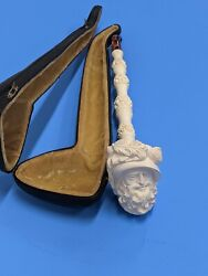 Vintage Hand Carved Meerschaum Pipe Long 15 Made In Turkey A01