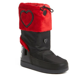 Love Moschino Black Red Faux Fur Snow Boots $119.99