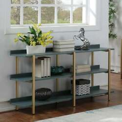 3 Tier Display And Storage Modern Wood Metal Blue Bookcase Shelf Organizer Rack