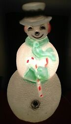 Vintage Rare Green Scarf Blow Mold Lawn Light Christmas Frosty Snowman Union 40
