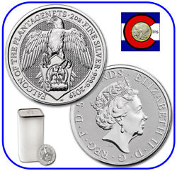 2019 Queenand039s Beast Falcon Of Plantagenets 2 Oz Silver Coin -- 10 Coin Roll/tube