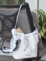 MICHAEL KORS EDEN MEDIUM BUCKET BAG SHOULDER BAG HOBO WHITE LEATHER SILVER $398 $139.99