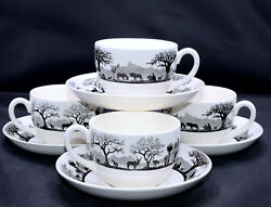 Wedgwood Kruger National Park 4 Sets Cups And Saucers Animals, England, Exc