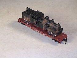 N Scale 50 Foot Flat Car With Rusted Out Logging Shay Locomotive. Version 5