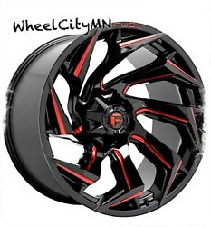 22 X12 Gloss Black Red Milled Fuel D755 Reaction Wheels Jeep Wrangler 5x127 -18