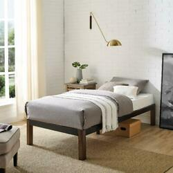 Metal Bed Frame With Wood Legs, Black, Twin By Mainstays