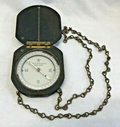 Vtg Keuffel And Esser Co. New York Large Handheld Compass On Chain Camping Tool