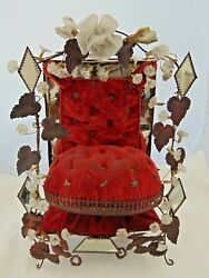 Antique 19th C French Marriage Wedding Boudoire Red Velvet Jewellery Stand