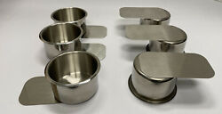 10 Pack Used Jumbo Stainless Steel Drink Holders w Slide Under For Game Tables $34.99