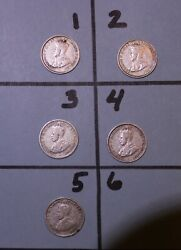 1926 Australian Rare Six Pence Coins Lot Of 5 With And Without Serif