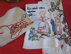 3 Vintage German Cushion Cover With Embroidered Poem Pillow