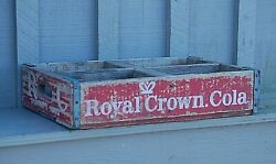 Rc Royal Crown Cola Red Wooden Soda Pop Bottle Crate Carrier Tool 4 Slot Box Tex
