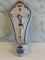 Antique French Faience Crucifix Handpainted Benetier Holy Water Wall Font 19th C