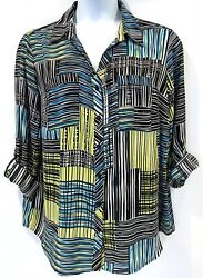Relativity Lightweight Blouse Long To 3/4 Roll Tab Sleeves Plus Sz 2x