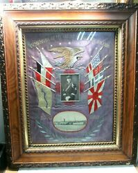 Pre-wwi Us Marine Embroidered Philippine Insurrection Tapestry Cruise Souvenir