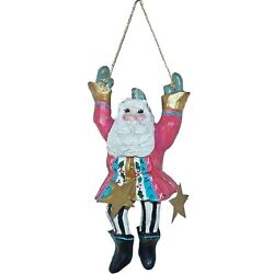 1993 House Of Hatten Santa Claus And Stars Christmas Elf Ornament Denise Calla