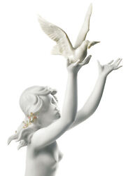 Lladro Peace Offering Woman Figurine. White