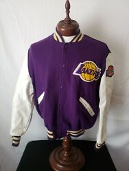 🔥🚨los Angeles Lakers Vtg Delong Size 42 Wool Varsity White Arms Very Rare...