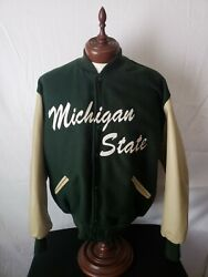 🚨🔥michigan State Vtg Delong Xl Varsity Wool Leather Arms Very Rare Nice