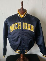 🔥🚨michigan Wolverines Vtg Starter L Button Up Spell Out Rare Very Nice