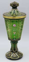 Czech Bohemian Moser Style Faceted Green Glass Covered Goblet Pokal Enameled