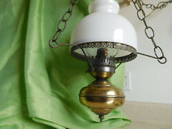 Country Small Brass Hurricane Swag Lamp White Milk Glass Shade Electric Vintage