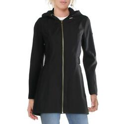 Via Spiga Womenand039s Water Resistant Soft Shell Raincoat With Drawcord Hood
