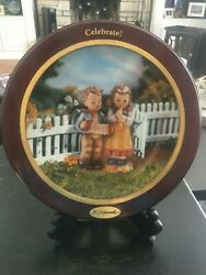Danbury Mint Hummel Celebrate Collector Plate With Wood Frame And Display Easelandnbsp