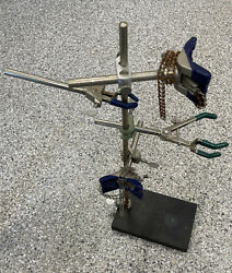 Fisher Castaloy Laboratory Clamp Tool Holder, 3 Prong Holder And 2 Ring Stands
