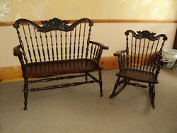 Antique Mahogany Bench And Rocker Lion's Heads Binghampton Chair Co, Price Reduced