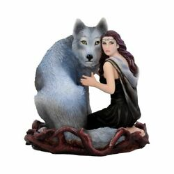 Soul Bond By Anne Stokes Hand-painted Wolf And Woman Resin Figurine Ornament Art
