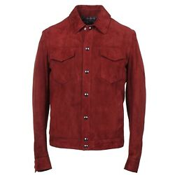 Cesare Attolini Burgundy Suede Outer Jacket With Wool Lining M Eu 50 Nwt