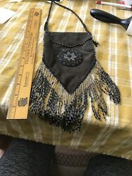 Brown Suede Beaded Medicine Pouch