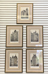 Set 5 Framed Prints French Chateau Of 15th 16th 17th Centuries H 28and039 X W 21