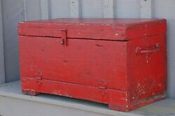 Primitive Red Carpenterand039s Wooden Tool Chest Box Caddy Tote Rustic Wood Vintage