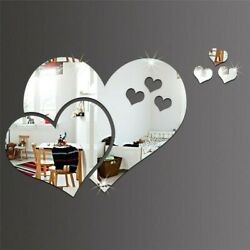 1set 6pcs Heart Acrylic Mirror Wall Sticker Home Room Mural Wall Decal Decor