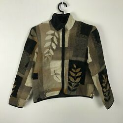 Coldwater Creek Tapestry Jacket Size S Brown Floral Acrylic Blend Front Zip